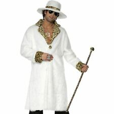 White Leopard Print Pimp Daddy Coat Hat Mens Adults Fancy Dress Costume