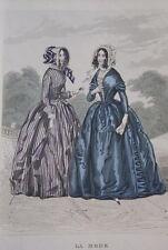GRAVURE COULEURS LA MODE 1844-OLD FASHION PRINT XIXe SIECLE COSTUME MD40