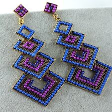 Purple Blue Long Fashion Crystal Chandelier Earrings Square Shape Dangle Womens