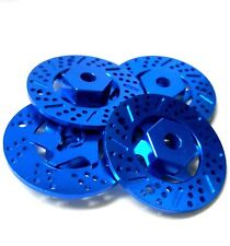 N10075 1/10 Scale Brake Disc Wheel Hex Hub M12 12mm Hex x 4 Blue Alloy