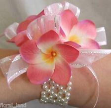 WEDDING FLOWERS BRIDAL PEARL BRACELET WRIST CORSAGE SILK PINK FRANGIPANI FLOWERS