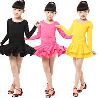 Lady Girls latin Dancewear Costumes Kids Black Ballroom dance Skirt Dress