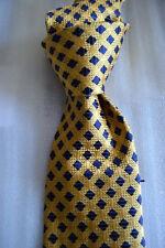 "$150 NWT BARNEY'S NEW YORK gold w/ navy basketweave check men's 3.5"" silk tie"