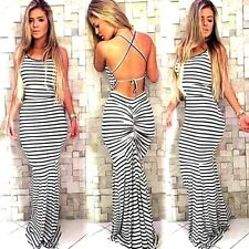Women Sexy Long Sleeveles Soft/Cross Strap Slimming Fitted Body Dress XL Party