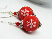 Red Acrylic SNOWFLAKE Christmas Silver Dangle Earrings USA HANDMADE