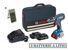 BOSCH TRAPANO AVVITATORE A BATTERIA con 3 batterie litio 18V 1,5Ah KIT VALIGETTA