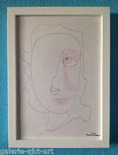 Raymond TRAMEAU Dessin 1960 Encadré George Braque Jean Arp Pablo Picasso Visage
