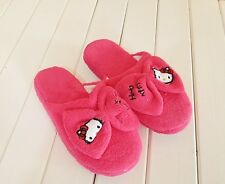 Hello Kitty Hot Pink Bow Plush Slippers For Women Size 6 -7