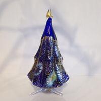 "CHRISTMAS DECORATIONS - MURANO GLASS MILLEFIORI CHRISTMAS TREE - BLUE - 5""H"