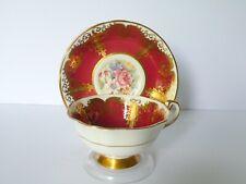Paragon Maroon Floral Bone China Cup & Saucer Set