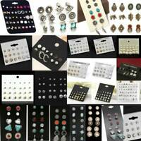 12/24 Pairs Fashion Women Earrings Set Rhinestone Crystal Pearl Ear Stud Jewelry