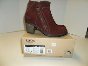 """Womens Size 42/11-11.5 Taos """"Dillie"""" Wine Suede Leather Ankle Boots"""
