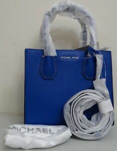 Michael Kors Women Lady Mercer Electric Blue Leather Medium Messenger Satchel