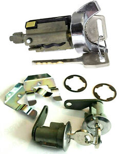 Chrome Ignition Key Switch Cylinder & Door Lock Pair Set W/ Keys for LINCOLN