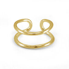 Bar Wire Fashion Toe Adjustable Ring 14K Yellow Gold Plated 925 Silver Double