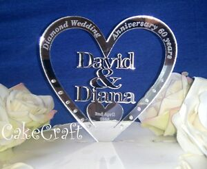 Mirrored Personalised Wedding Diamond Anniversary cake topper decoration
