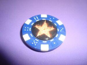 Burning STAR Fire-Flames Image Poker Chip Magnet - Magnetic Golf Ball Marker