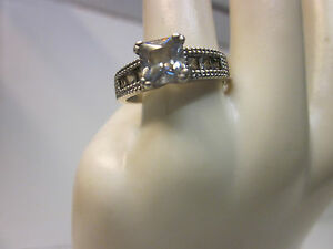 925 Sterling Silver Engagement Ring  with Cubic Zirconia Stones