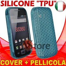 Cover Custodia Gel Azzurro Per SAMSUNG S5360 GALAXY Y + Pellicola Salva Display