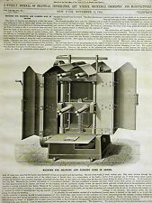 Lyons Machine for DRAWING & GLOSSING SILK in SKEINS 1882 Art Matted w Full Story