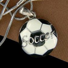 Blanco Negro Esmalte Pintura Fútbol Fútbol Hombre Joyería Charm Colgante Collar