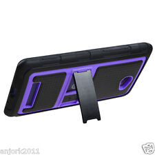 HTC Windows Phone 8X 6990 Hybrid Case Gummy Cover w/ Stand Black Purple
