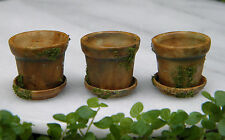 Miniature Dollhouse Fairy Garden Accessories ~ Set of 3 Pots with Moss ~ New