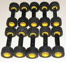 LEGO LOT OF 10 BLACK TIRES YELLOW RIMS HUBS CAR TRUCK WHEELS WIDE BLACK AXLE