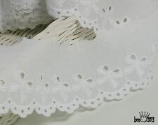 "14Yds Embroidery scalloped cotton eyelet lace trim 2.2"" white YH590 laceking2013"