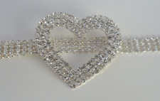 Silver Plated Genuine Crystal Diamante Women Waist Chain Heart Belt Buckle 4 Row