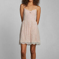 ABERCROMBIE & FITCH AF BLUSH LIGHT PINK LACE TANK HALTER SUMMER DRESS XS