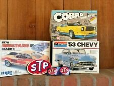 3 Vintage Empty Model Car Boxes, 1978 Mustang, Cobra, 1953 Chevy, Stp Stickers