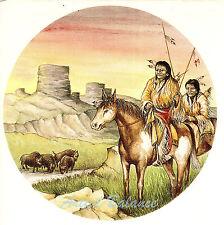 Ceramic Decals Southwest Native American Indian Hunters Buffalo Mesa