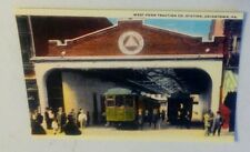 Old Uniontown PA. West Penn Traction Trolley Station Garage Rare Postcard Repo