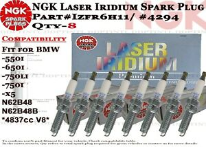 8-NGK Laser Iridium Spark Plug #4294 IZFR6H11 For BMW 550i 650i 750i 750i X5 N62