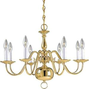 Progress Lighting Americana Collection 8-Light Polished Brass Chandelier