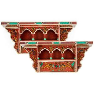 SET OF 2 - Rustic Floating Shelves Red Vintage look, Wall Shelves Floating