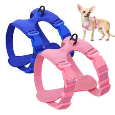 Soft Suede Leather Dog Harness Step-in Vest For Small Dogs Pet Puppy Blue Pink