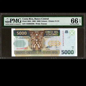 Banco Central de Costa Rica 5000 Colones 2005 PMG 66 GEM UNCIRCULATED EPQ P-268A