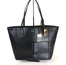 Ralph Lauren Large Tote Bag Handbag Black Pebbled Leather Shoulder Bag *1010