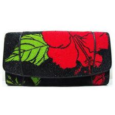 Genuine Stingray Skin Leather Women's Red Flower Black Wallet Clutch O-bag Purse