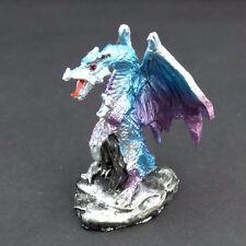 "Mini Dragon Statue Purple and Blue 2.5"" Mythical Fantasy Dragon Figurine"