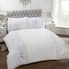 "Rapport Luxury ""Provence"" Ruffles Diamante Duvet Cover Bedding Set White or Grey"
