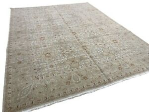 9' x 12' HANDMADE HAND KNOTTED WOOL RUG IVORY BROWN GREEN AREA RUG N-12009