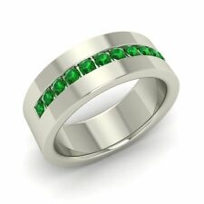 6 MM Certified 0.41 Cts Emerald Sterling Silver Men's Wedding Band Ring Sz 12