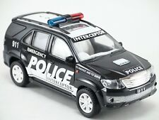 Toyota SUV Off Roader Fortuner Scale Police 911 Model India Black Collectibles