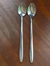 SET OF 2 LONG SPOONS STAINLESS STEEL 18-0 TEA COFFEE SPOONS ICE CREAM TABLEWARE