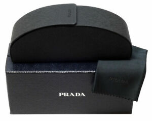 PRADA Sunglasses/Eyeglasses hard Case black, Gift box and Cleaning Cloth NEW