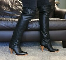 Vintage Thigh High Black Leather Boots Size 10