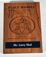 Vintage 1984 Engraved Wooden Plaque Peace Marble Israeli Air Force F16 Falcon